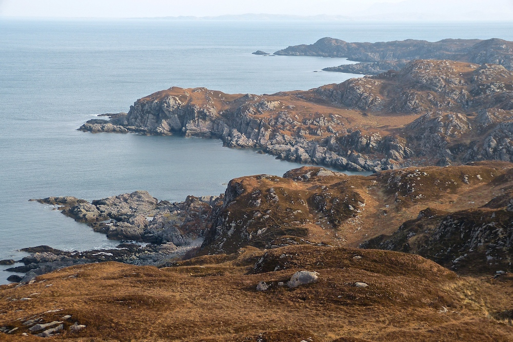 Ardnamurchan north coast, MacIains Cave is at centre.