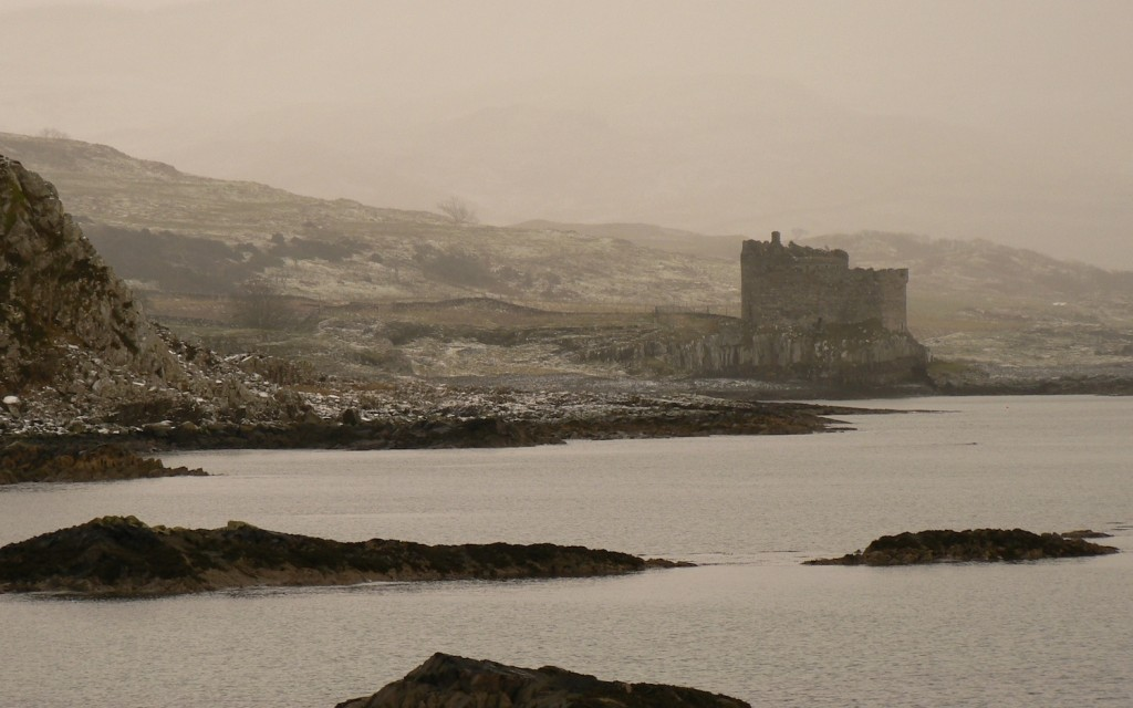 Mingary Castle in winter, seen from Rubha Aird an Iasgaich