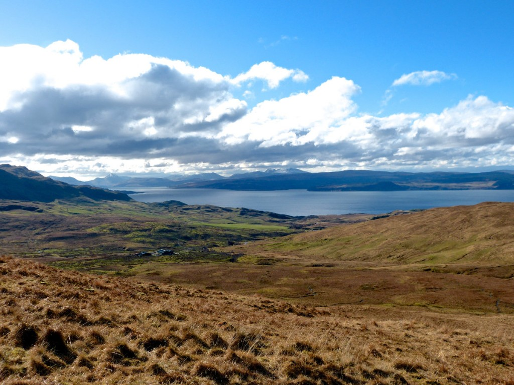 View South - Allt Choire Mhuillinn and across the Sound of Mull to Mull