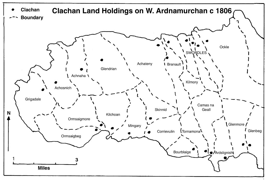Map Showing Clachans - Bald 1806