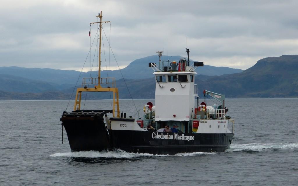 The Caledonian MacBrayne ferry Eigg approaching Mingary Pier, Kilchoan.