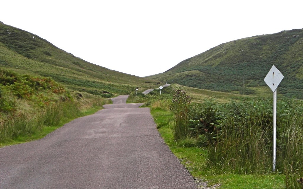 Passing places on a single-track road on Ardnamurchan.
