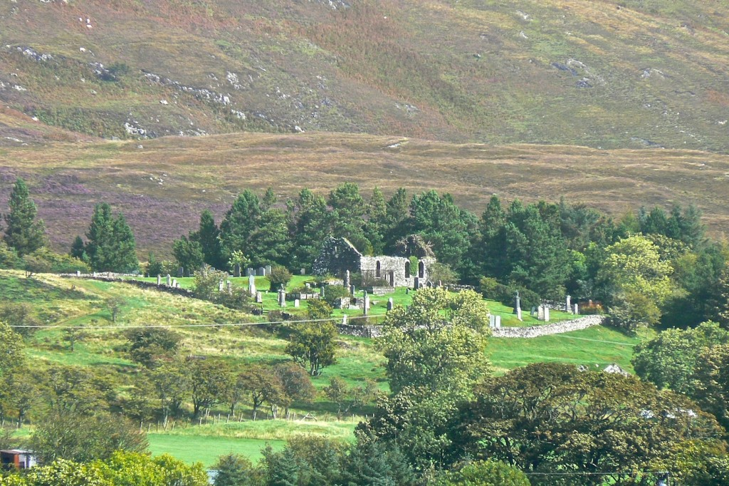 St Comghans church stands on a low hill overlooking Kilchoan village