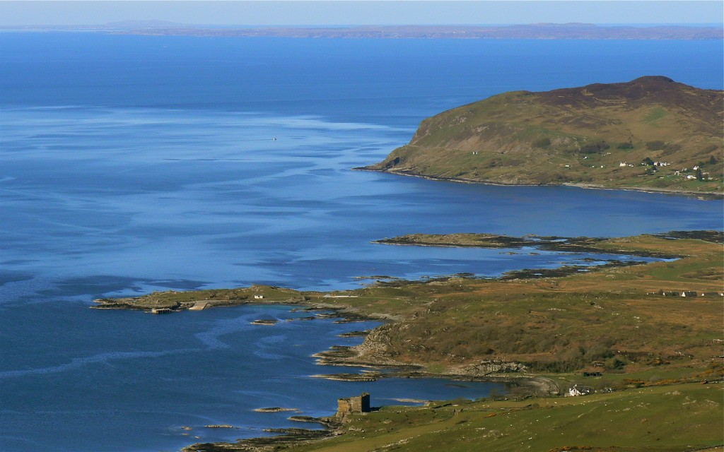 Mingary Castle and Kilchoan bay, seen from the northeast.