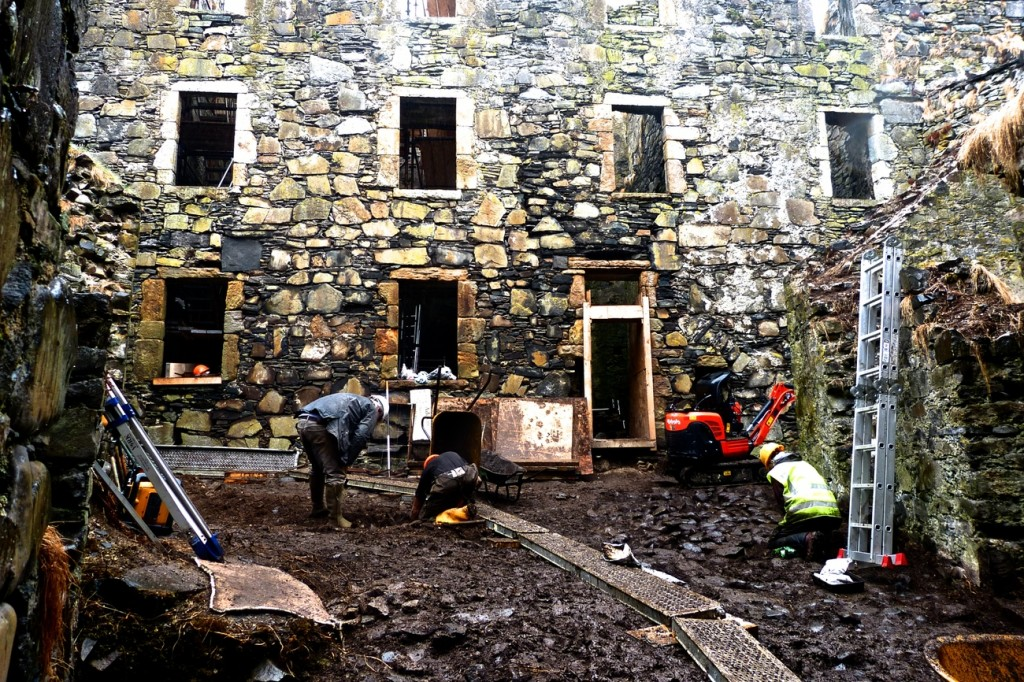 Archaeological work in progress in the castle courtyard.
