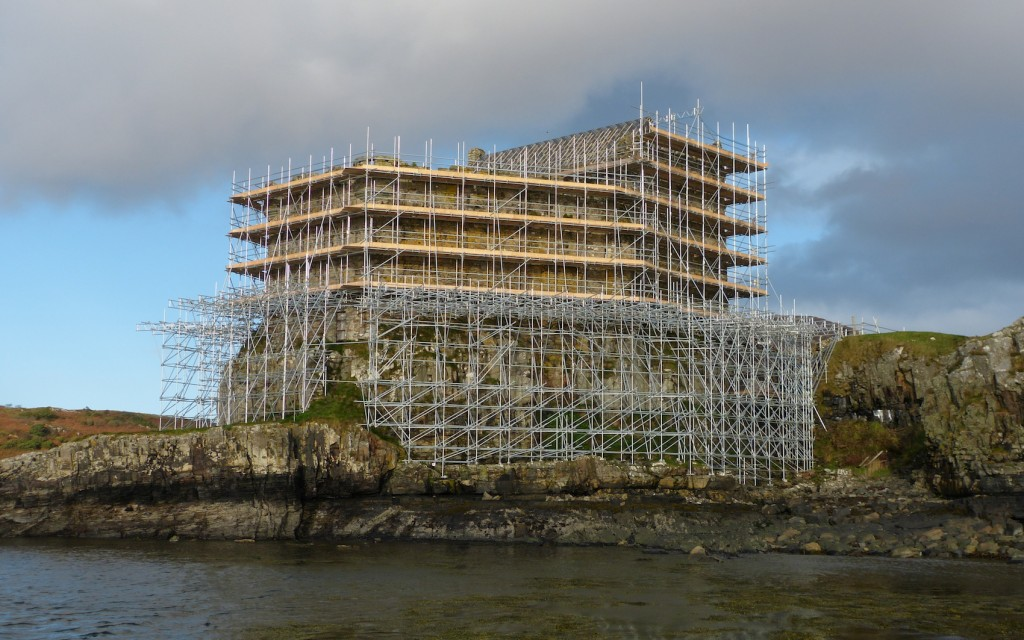 Mingary in October 2013, by which time the whole castle was covered in scaffolding.