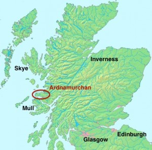 Map to show the location of Ardnamurchan in the British Isles.