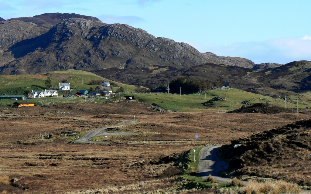 Creag an Airgid seen from the northwest, with the township of Achnaha in the foreground.
