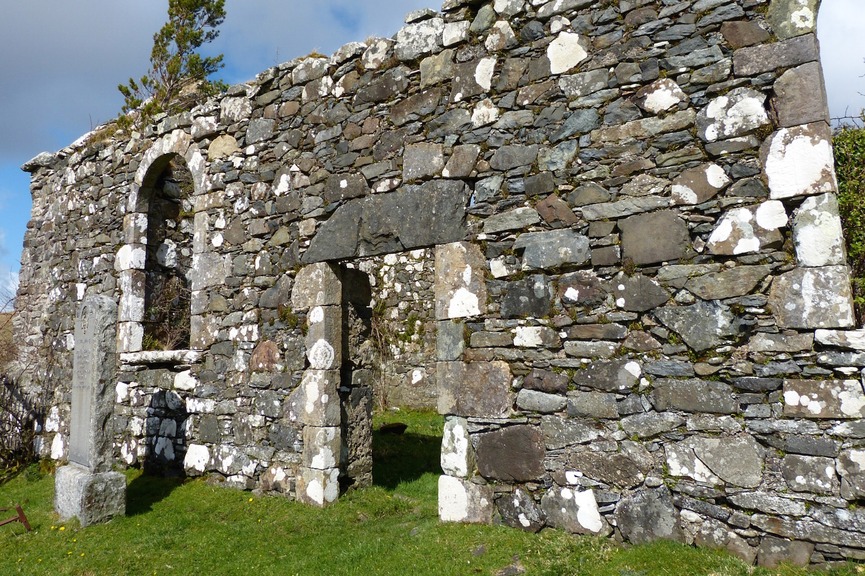 The entrance to the church, with the lintel stone